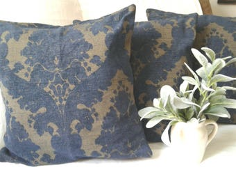 18in. Heavyweight vintage damask pillow slipcover