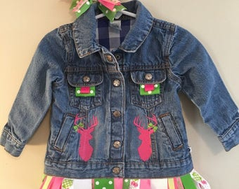 Daddy's Girl Embroidered Jean Jacket & Matching Bow