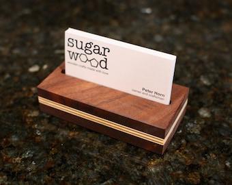 Walnut and birch business card stand