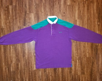Vintage NAUTICA Long Sleeve Polo Barney Inspired Colorway