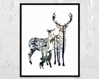 Stag Deer Wall Art Print Deer Print Deer Antlers Stag Print Animal Print nursery animal wall art nursery animal prints