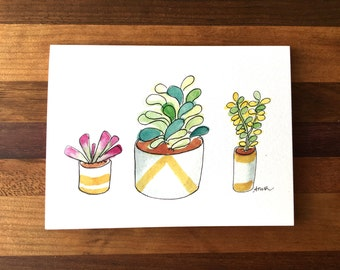 Succulents Greeting Card; Hand-Painted Greeting Card; Just Because Greeting Card; Succulents Artwork
