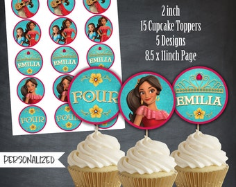 Elena of Avalor Cupcake Toppers, Elena of Avalor Favors, Tags, Party, Elena Thank You Tags, Personalized, Printables, Digital, DIY