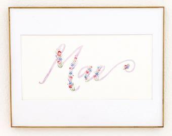 Lavender and Pink Script Custom Watercolor Name