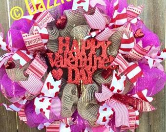 Valentines Day Wreath, Valentine's Day Wreath, Valentine Decoration, Pink Heart Wreath, Red Wreath, Valentine Decor, Valentine Gift,