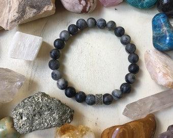 Matte Black and Grey Stone Bracelet