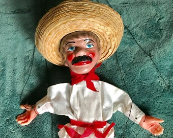 1960s Mexican marionette- man in sombrero