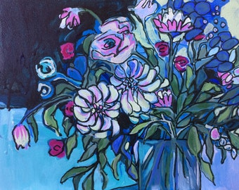 Blue Floral Painting Flower Art Original Painting Affordable Wall Art