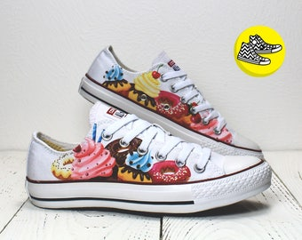 Cupcakes and donuts custom converse sneakers sweet  low top shoes