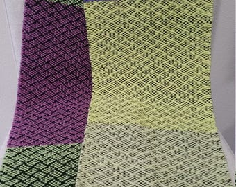 Handwoven Scarf, Yellows/Greens/Purples, Super soft and fluffy, 20% Wool Yarn