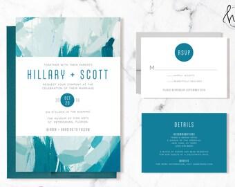 Printable Wedding Invitation Suite / Wedding Invite Set - The Painterly Suite