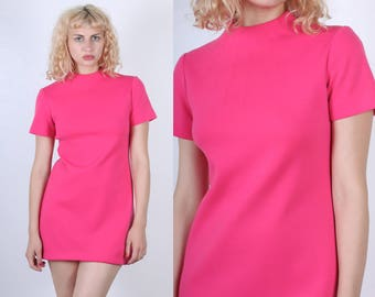 Vintage Mini Dress // 60s 70s Mod Hot Pink Wool Shift Dress - Medium