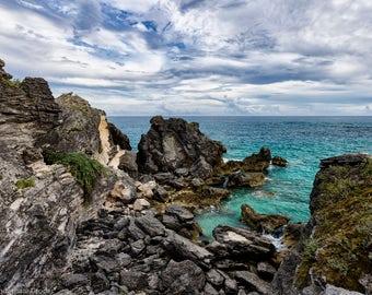 Matted, Color Photograph Print of Horseshoe Bay, Bermuda
