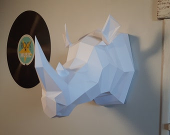 KIT DIY decoration paper (animal/Origami Papercraft) Rhinoceros trophy!