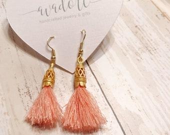Tassel earrings - Gold tassel earrings - Peach earrings - Tassels - Drop earrings - Earrings - Gold earrings - Gift idea - Dangle earrings