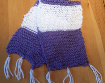 Purple and white knitted baby scarf