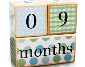 Free Two Day Shipping Included | Baby Age Blocks | Solid Wood | No Stickers Used | Months, Weeks, Years, Grade Milestones | Gender Neutral