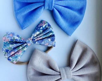 Set of bows for girls. Babygirl bows. Blue bows for girls. Baby headbands. Girl headbands. Hair accessory.