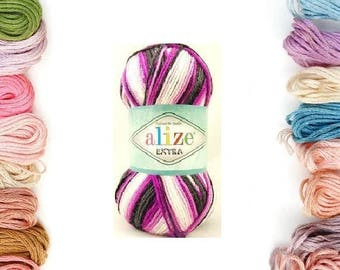 Alize Extra, socks yarn. alize socks yarn, batic yarn, knitting yarn, crochet yarn, soft yarn, acrylic yarn, summer yarn, microfiber yarn,