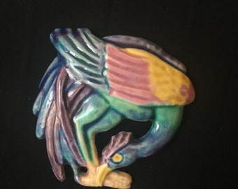 Brayton Laguna Pottery Pin - Exotic Bird