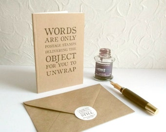 Word Lover Notebook - George Bernard Shaw Quote | Greeting Card Journal, Gift for Logophile | Recycled A6 Kraft Notebook, choice of pages
