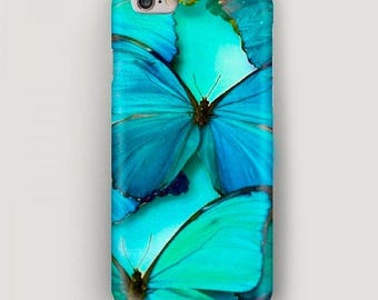 Butterfly iPhone 6 Case, iPhone 7 Plus Case, Blue Phone Case, iPhone SE Case, iPhone 4 Case, Gift for Girlriend, Apple Case, 6S Case