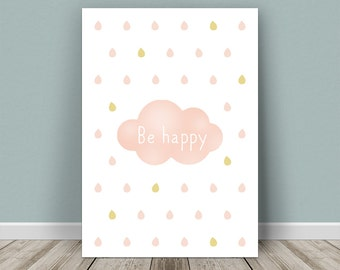 Personalised baby print cloud for a girl
