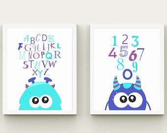 Monsters alphabet and numbers boy nursery art printable, download educational kids room wall art, monsters alphabet set custom colors