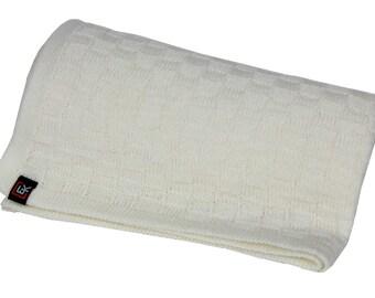 100% Superfine Merino Baby Blanket (White)