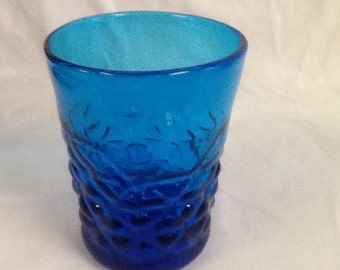 Blenko Glass hand blown tumbler #6033 in turquoise blue ,, Wayne Husted, 1960, etched
