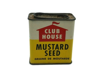 Vintage ClubHouse Mustard Seed Tin Container - Décor Prop - collectible - Governor's Sauce - 60s