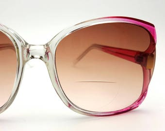 Oversized Sun Glasses Frames 90s Prescription Bifocal Vintage Fade Out Pink to Clear Sunglasses Sunglass Outdoor Summer Festival