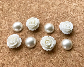 White Flower Magnets or Pushpins, Pearl Flower Magnets Or Thumbtacks, Pearl Magnets, Decorative Magnets, Wedding Favors