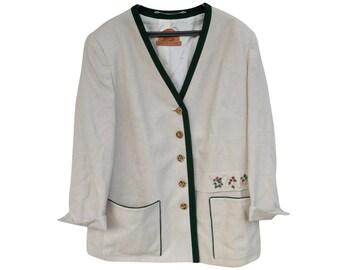 Vintage Julius Lang women jacket blazer 75% fleece wool 25 flax