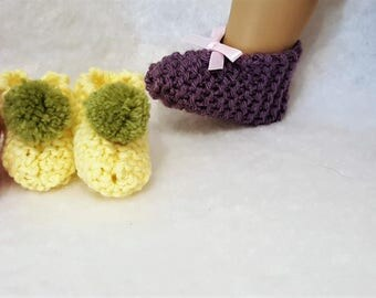 Knit Slippers/Booties for American Girl or any 18 in Doll - 3 Pair