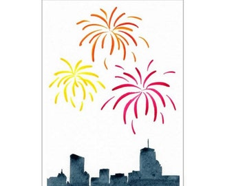 "Watercolor Painting Card - Happy New Year Boston Fireworks (5 x 7"" with envelope)"