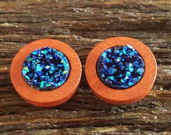 Wood & Druzy Earrings - FREE WORLDWIDE SHIPPING