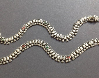Vintage, old anklets from India, Indian tribal jewelry, ethnic, tribal, Indian silver, Orissa, Belly Dance, Tribal Fusion Dance