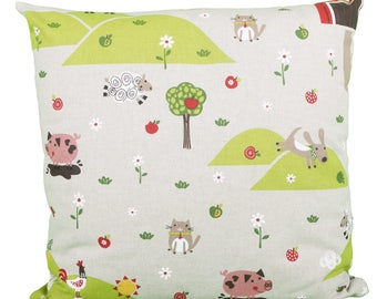 Pillow square farm landscape kids animals