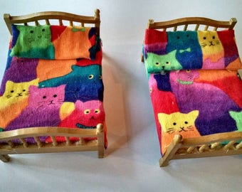 Vintage Doll House Furniture, Colorful, Two Matching Beds at a Great Price!