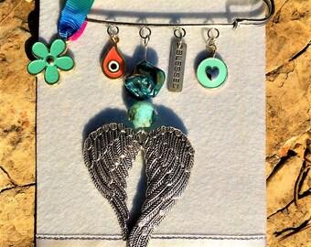 New Mom  Gift/ Brooch/ Safety Pin/ Seashell Bead/ Angel Wings/Turquoise Flower/ Blessed/ Blue Bead/ Heart/Evil Eye/ Orange/ Blessed/ Newborn