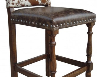 Colton Cowhide Bar Stool | Cowhide Barstool