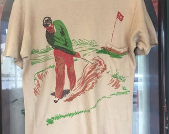 Vintage 1950's Golf Picture Knit Cotton Rockabilly Tee Shirt