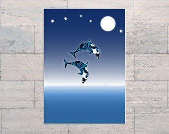 Dolphins, Inspirational Art, Spiritual Art, Jumping for Joy, Peace, Printable, Instant Download, Digital Download, Multi Sizes, Digital Art,