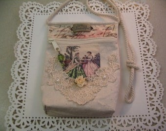 Embellished Altered Canvas Handbag Zipper Pouch Evening Bag Accessory Pouch Shabby Chic Collection