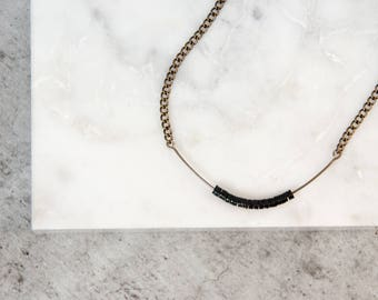 Black Minimalist Necklace, Everyday Necklace for Women, Necklace with Tiny Black Beads, Minimal Necklace, Jewelry Gift for Woman