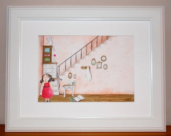 original and unique illustration in watercolor of a girl and her cat