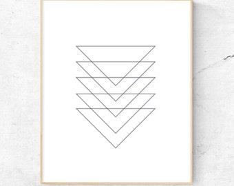 Geometric Triangles Black and White Modern Wall Art. - Digital Print, Instant Download - Home Decor, Wall Art, Print.