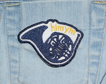 Blue French Horn, HIMYM inspired Iron-on Embroidered Patch
