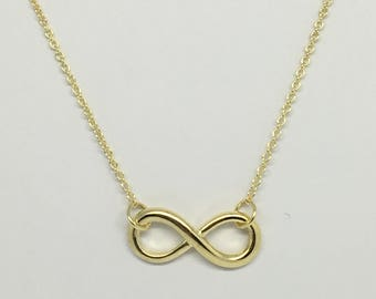 925 Sterling Silver Gold Plated Infinity Necklace